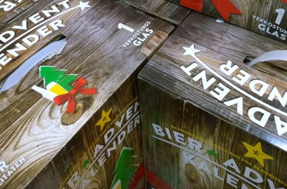 Bier Adventskalender 2015 24 Bierspezialitäten bis Weihnachten Verkostungsglas Kalea