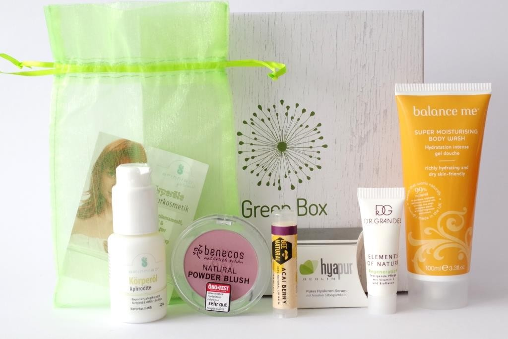 Gala Beauty Box Green Box 01 Balance Me Benecos Bee Natural Hyapur Dr. Grandel Spinnrad