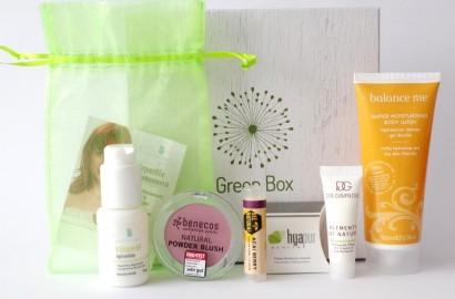 Gala Beauty Box Green Box 01 Balance Me Benecos Bee Natural Hyapur Dr. Grandel Spinnrad
