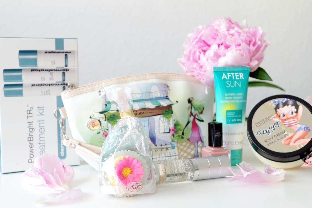 Miabox Juni 2016 Beautybox Etre Belle Timecontrol After Sun Malu Wilz Nagellack Dermalogica Betty Boop Badefee süße Tasche-001
