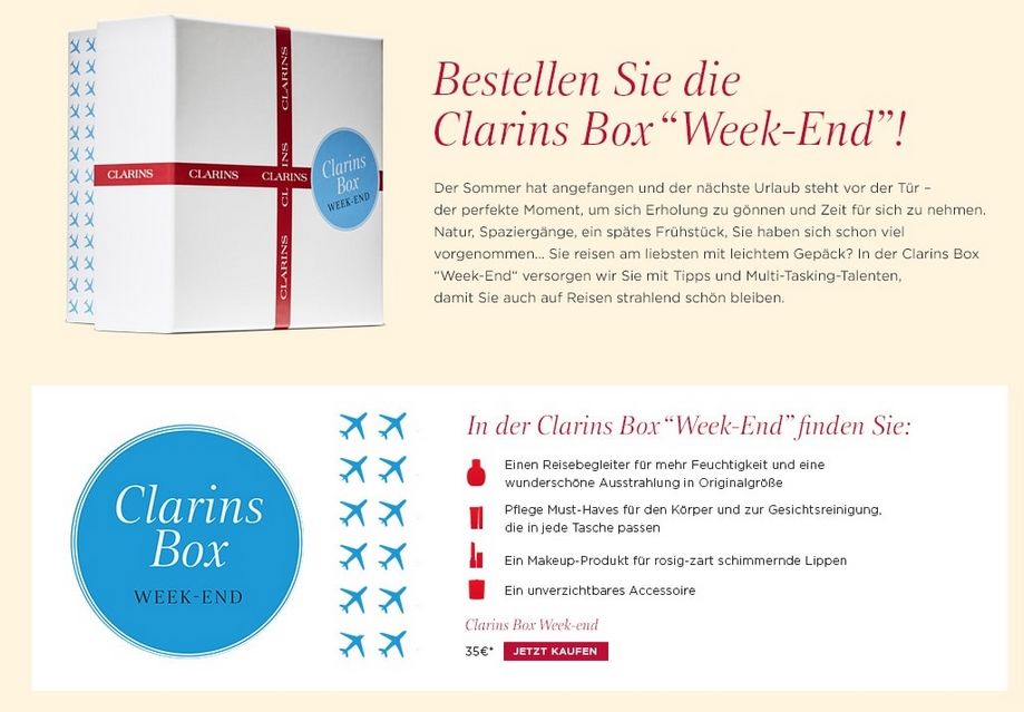 Screenshot von www.clarins.de: Clarins Weekend Box Beautybox Juli 2016